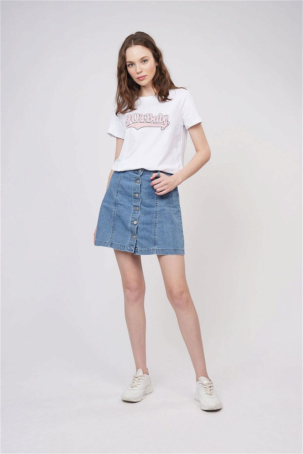 Baskılı T-shirt Beyaz
