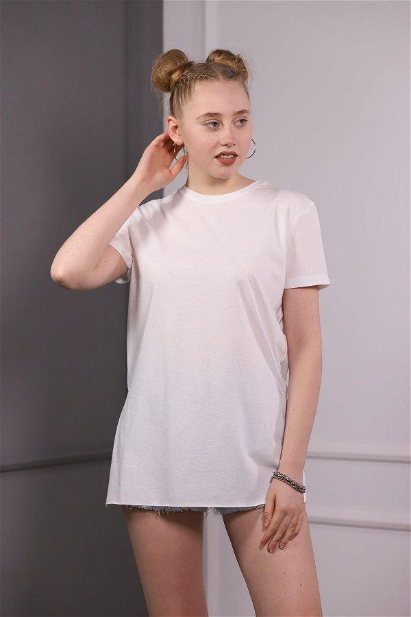 Bisiklet Yaka Yırtmaçlı T-shirt Beyaz