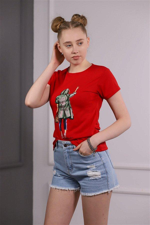 Kız Baskılı T-shirt  Kırmızı