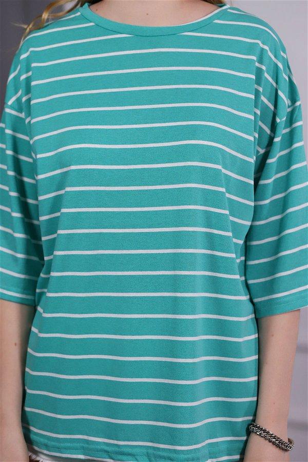 Çizgili Yetim Kol T-shirt  MINT-BEYAZ