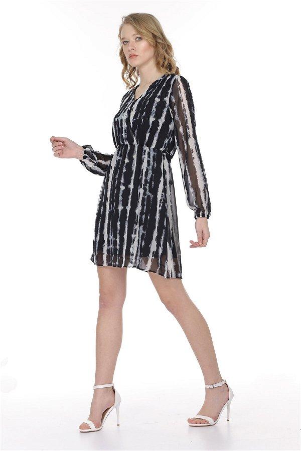 Anvelop Detay Bel Büzgülü Elbise SIYAH