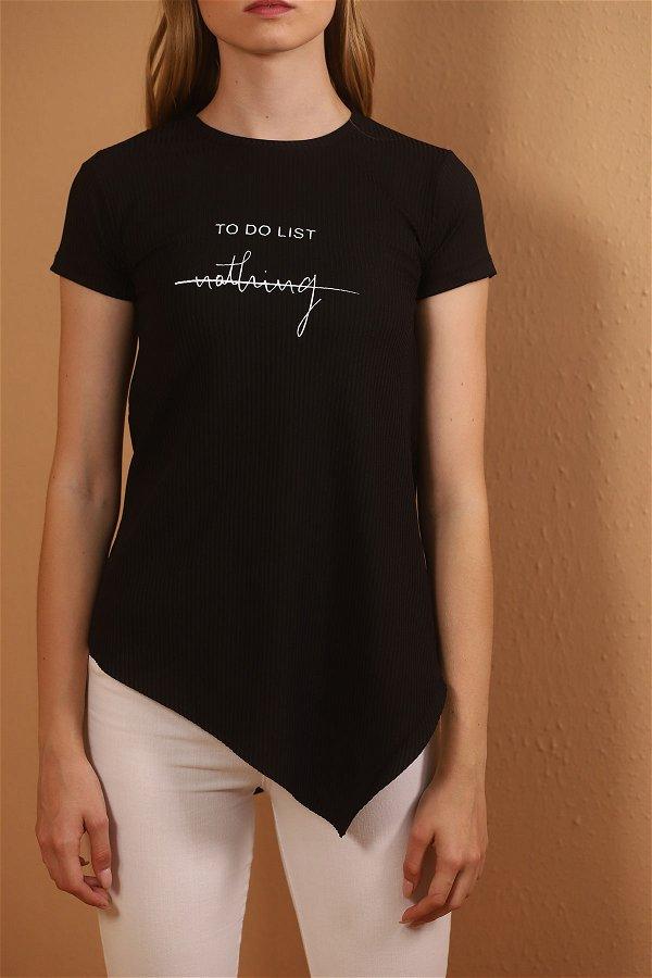 Asimetrik Kesim Baskılı  T-shirt
