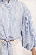Balon Kol Bel Bağcıklı Gömlek MAVI