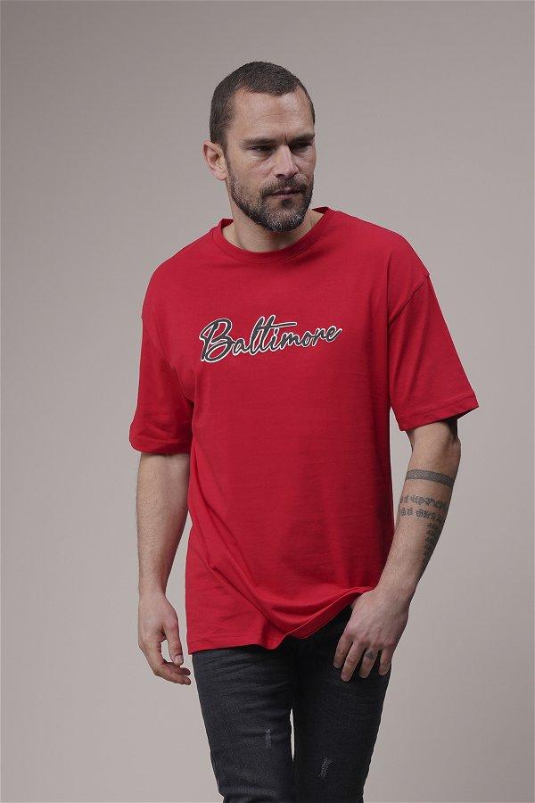 Baltımore Baskılı Oversize T-shirt Kırmızı