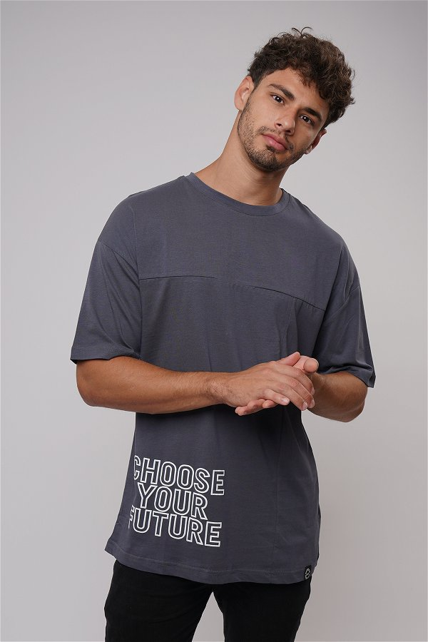 Baskılı Bisiklet Yaka Oversize T-shirt ANTRASIT