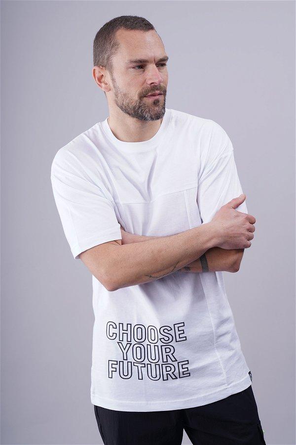 Baskılı Bisiklet Yaka Oversize T-shirt Beyaz