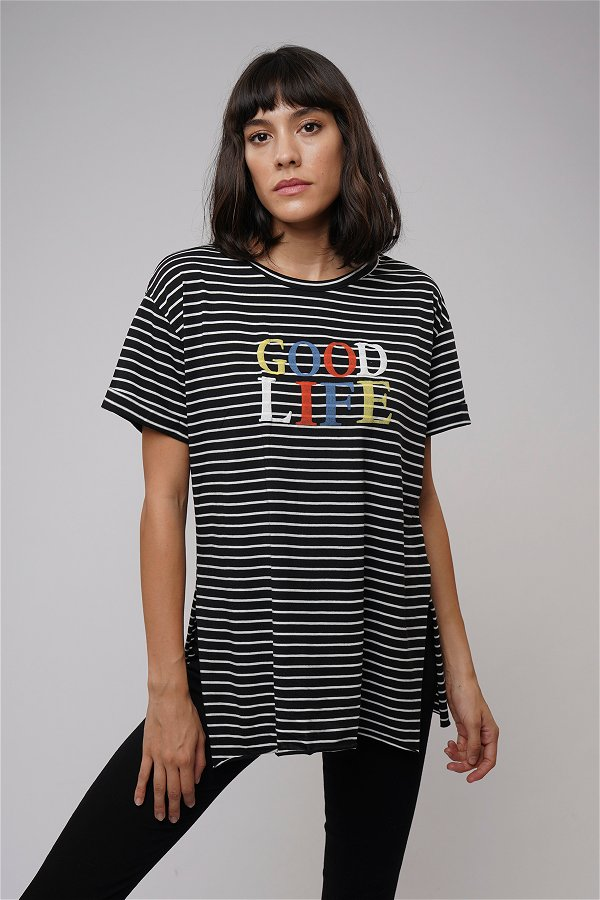 Baskılı Çizgili T-shirt Siyah