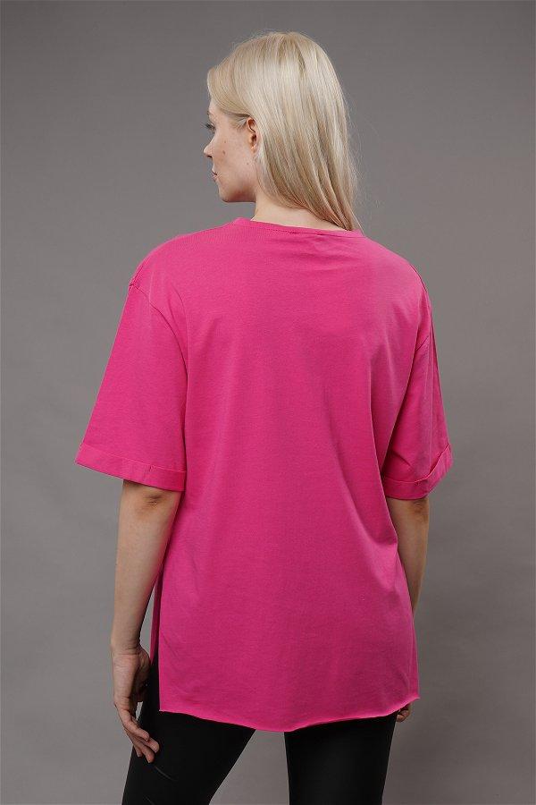 Baskılı Duble Kol T-shirt FUŞYA