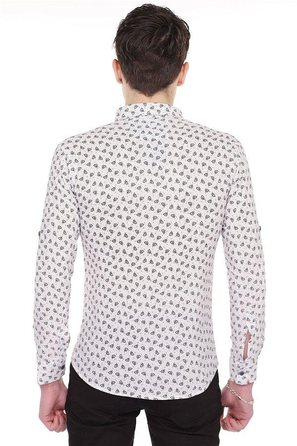 Baskılı Gömlek BEYAZ-SIYA