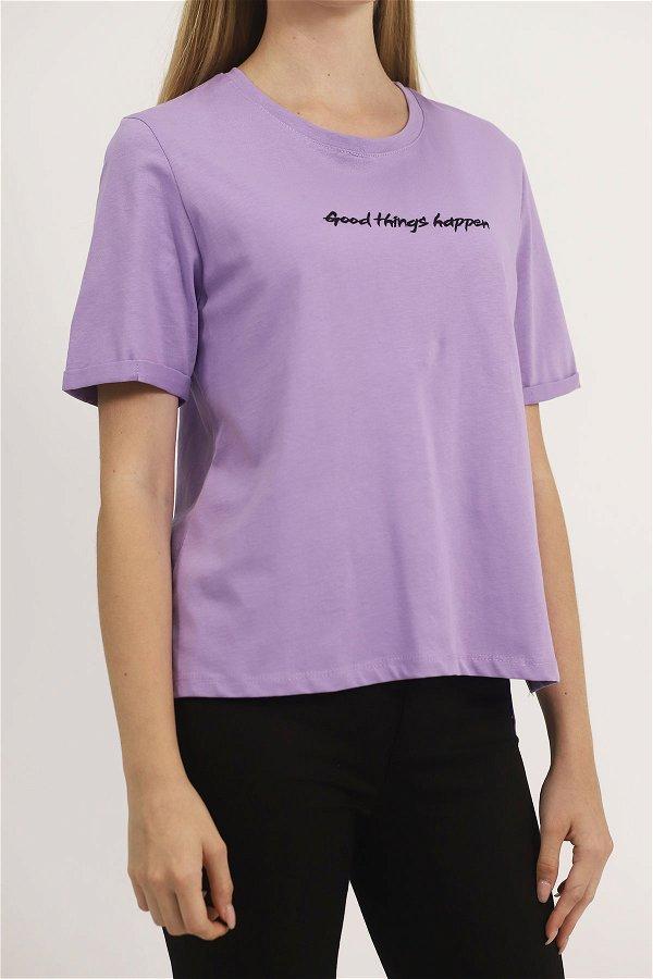 Baskılı T-shirt lila