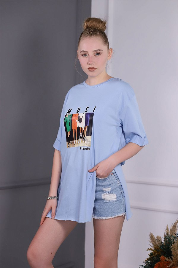 Baskılı T-shirt MAVI