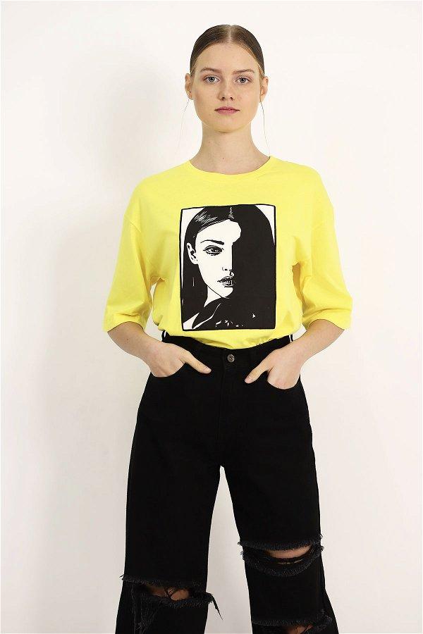 Baskılı T-shirt SARI