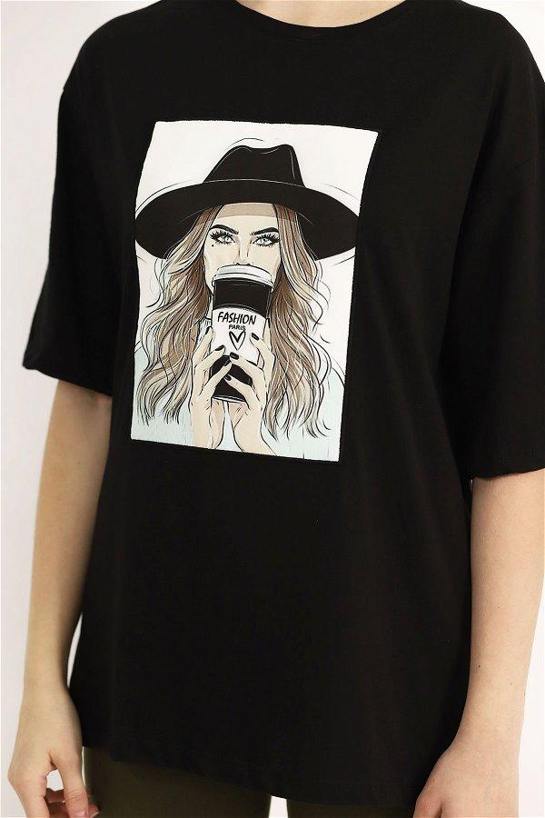Baskılı T-shirt SIYAH