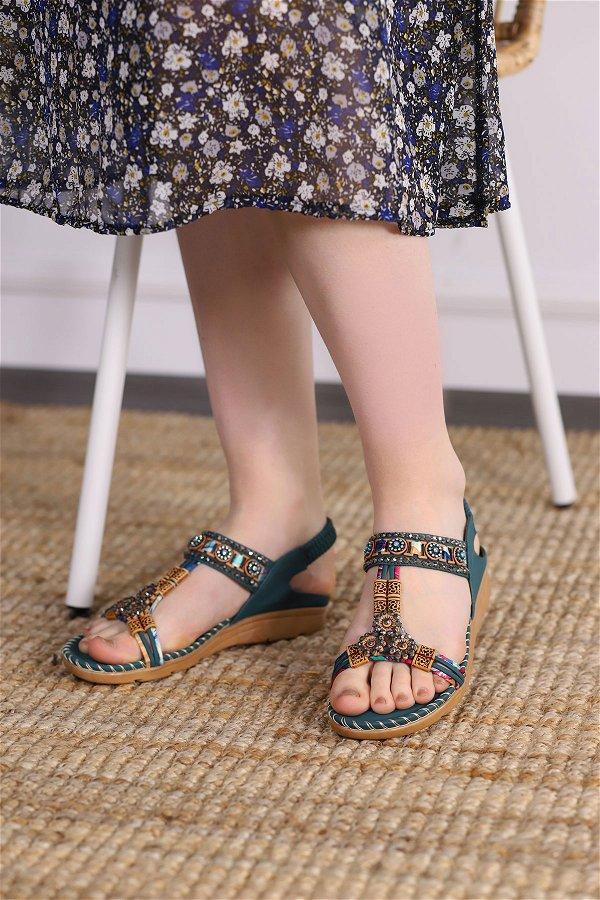 Taşlı Sandalet YESIL