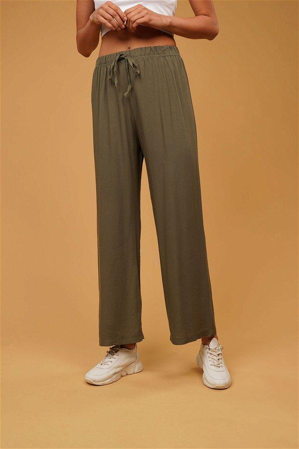 Bel Bağcıklı Cepli Pantolon HAKI