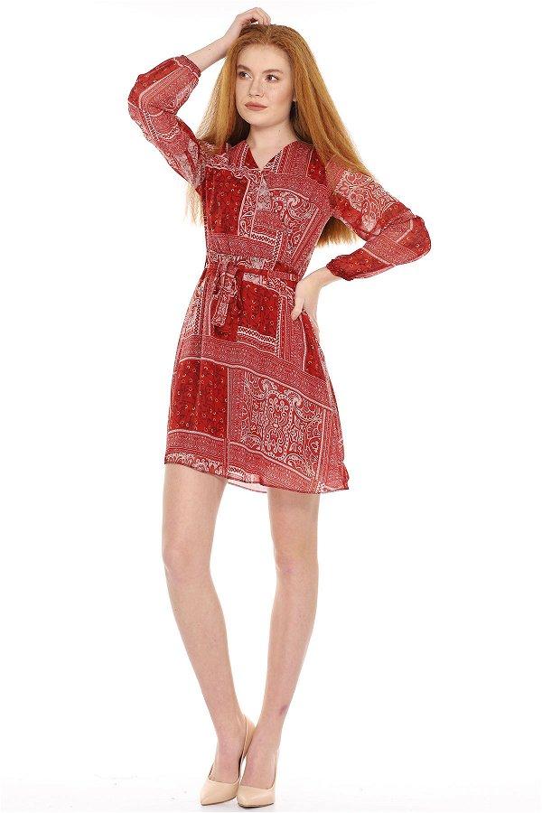Bel Bağlamalı Desenli Elbise