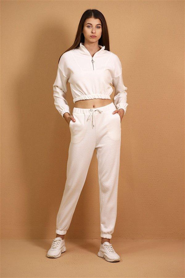 Bel Bağlamalı Fermuarlı Eşofman Takımı Beyaz