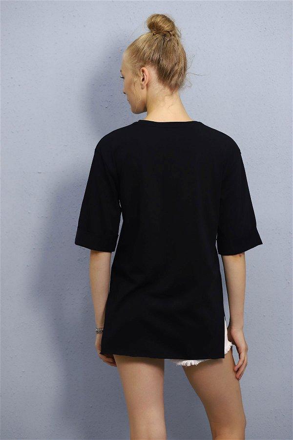 Kol Katlı Basklı T-shirt SİYAH