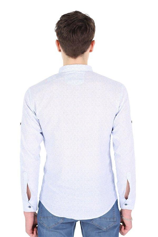 Bengalin Baskılı Gömlek BEYAZ-SAKS