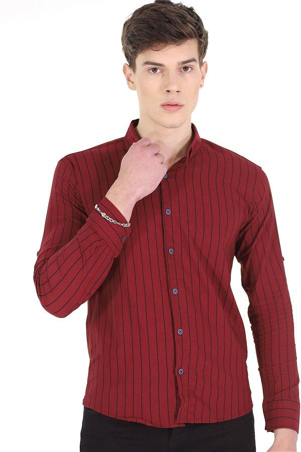 Bengalin Çizgili Gömlek BORDO
