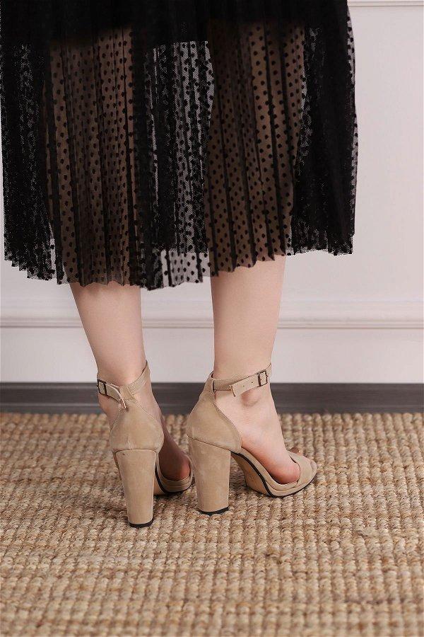 Bilek Bantlı Topuklu Ayakkabı TEN-SUET