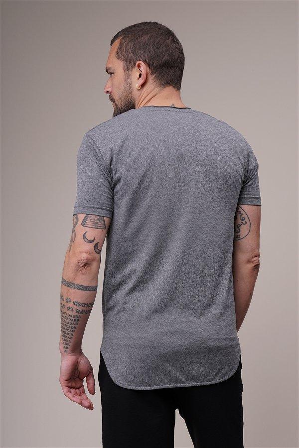 Bisiklet Yaka Biyeli T-shirt ANTRASIT