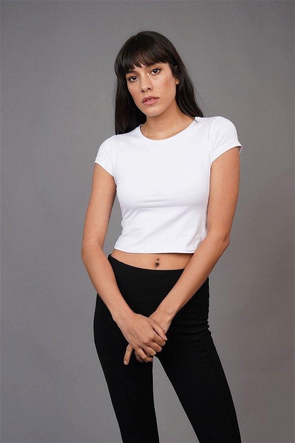 Bisiklet Yaka Kısa T-shirt Beyaz