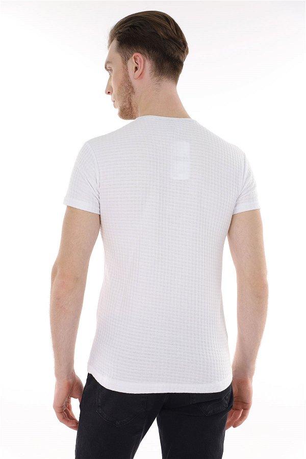 Bisiklet Yaka Desenli T-shirt Beyaz