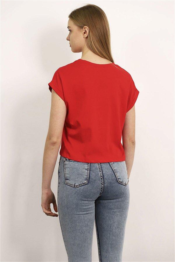 Bis Yaka Mini Bluz Kırmızı