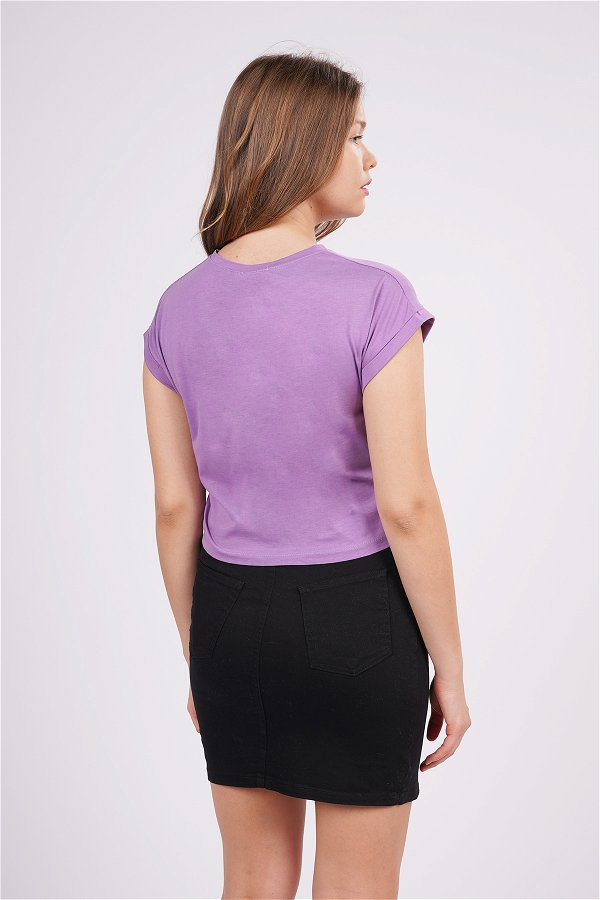 Bisiklet Yaka Mini T-shirt lila