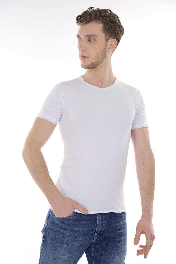Bisiklet Yaka T-Shirt Beyaz