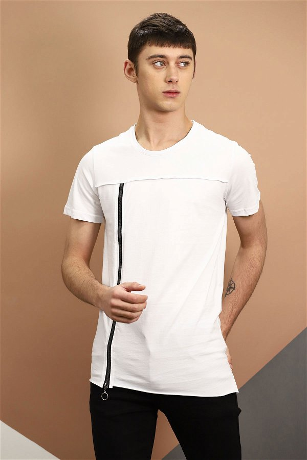 Yan Fermuarlı T-shirt Beyaz