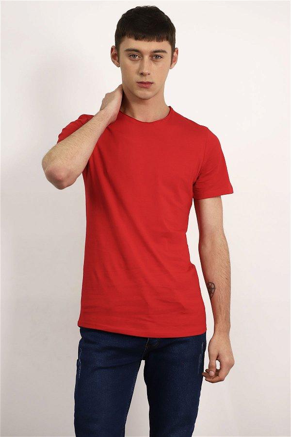 Bisiklet Yaka T-shirt Kırmızı