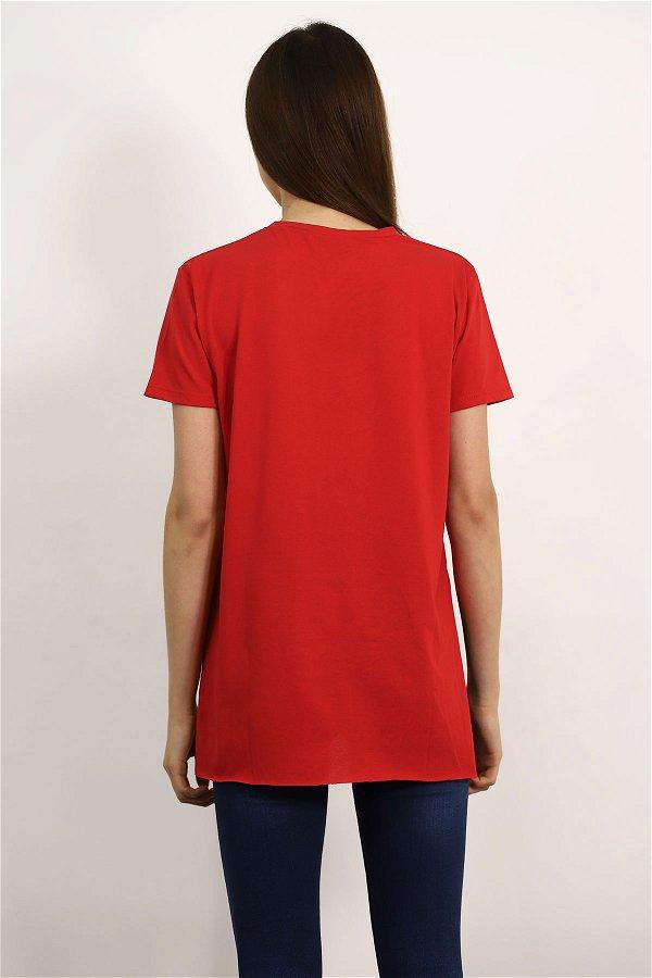 Bisiklet Yaka Yırtmaçlı T-shirt Kırmızı