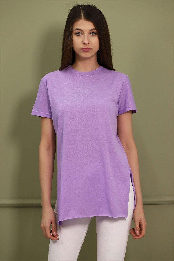 Bisiklet Yaka Yırtmaçlı T-shirt lila