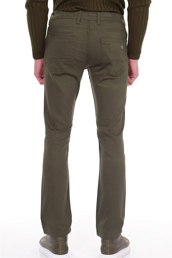 Boru Paça Pamuk Saten Pantolon HAKI