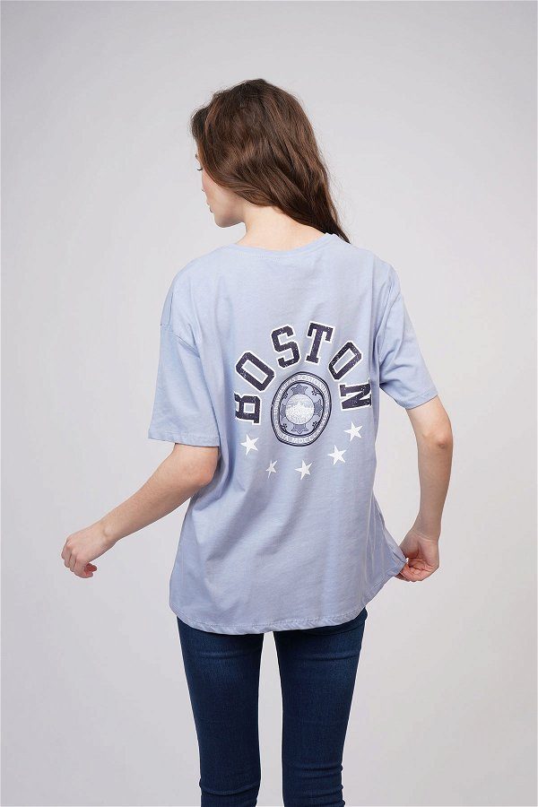 Boston Baskılı T-shirt B.MAVI