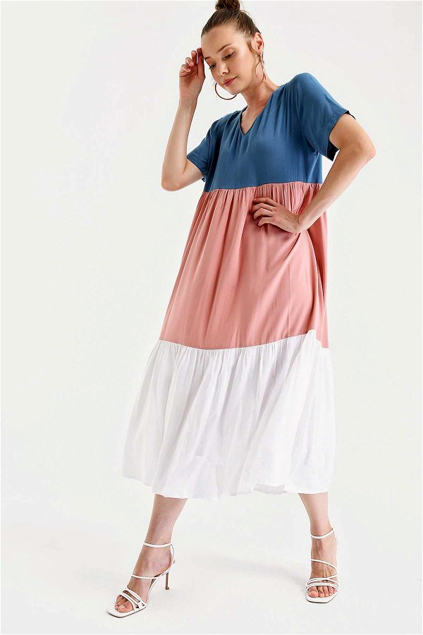 Büzgülü Üç Renk Elbise MAVİ-PUDRA