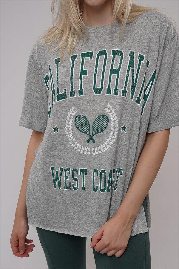 California Baskılı Yırtmaçlı T-shirt GRI