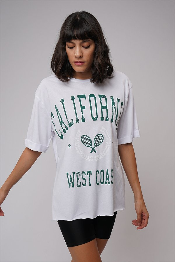 California Baskılı Yırtmaçlı T-shirt Beyaz