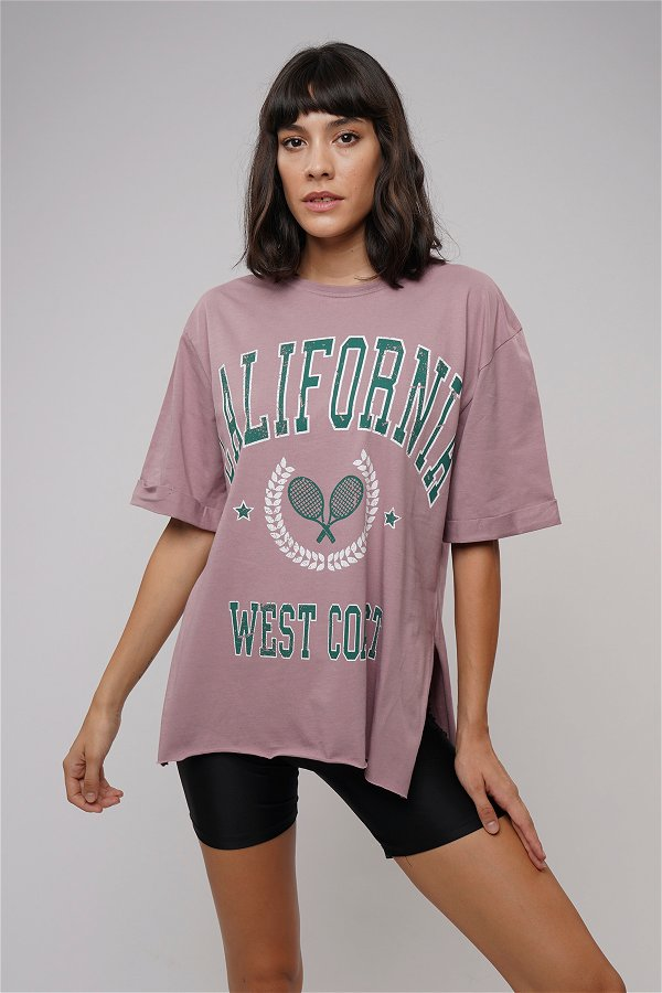 California Baskılı Yırtmaçlı T-shirt GÜL