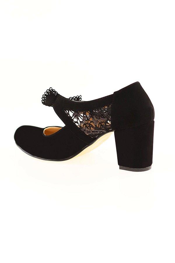 Kurdale Detaylı Topuklu Ayakkabı SIYAH-SUET
