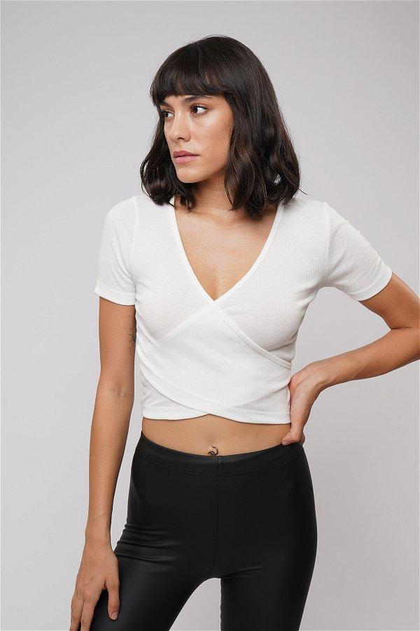 Çapraz Detaylı Mini T-shirt Beyaz