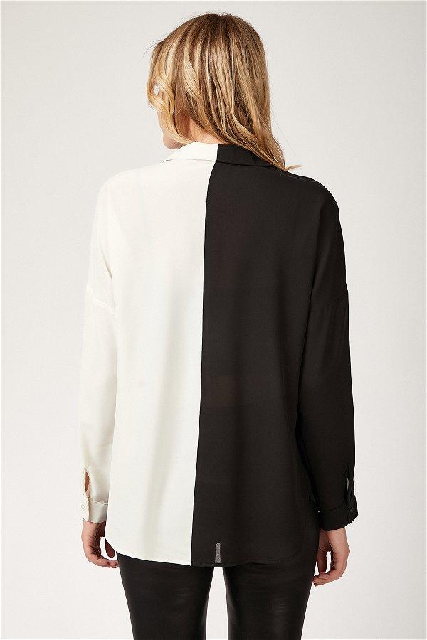 Çift Renkli Fermuarlı Gömlek siyah-beya