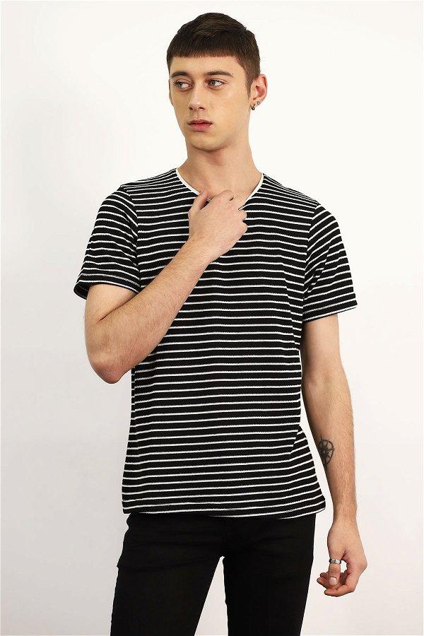 Çizgili T-shirt SIYAH