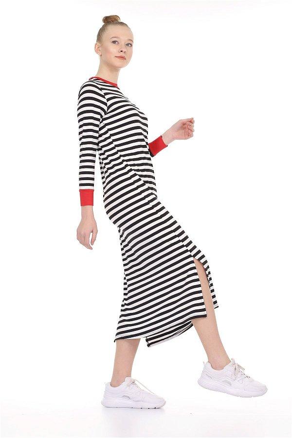 Çizgili Yırtmaçlı Elbise SIYAH