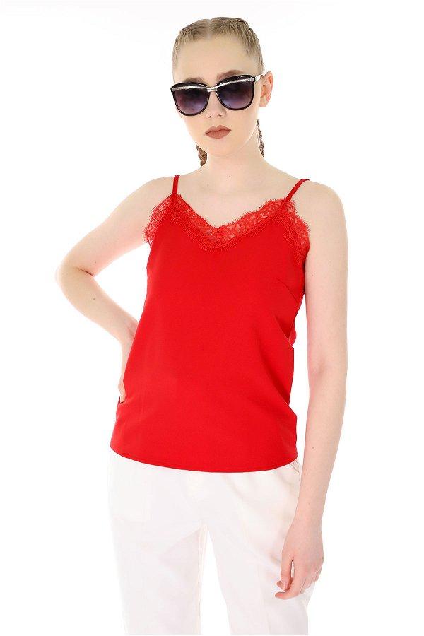 Dantelli Askılı Bluz Kırmızı