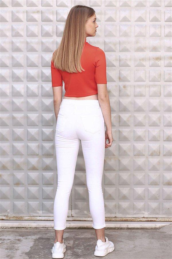 Dar Paça Pantolon Beyaz