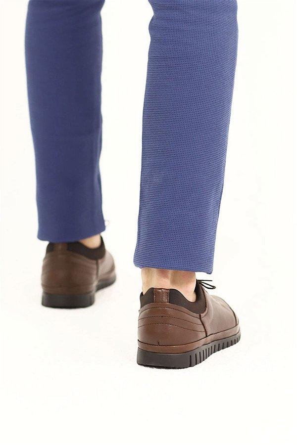 Deri Garnili Bağcıklı Ayakkabı KAHVE