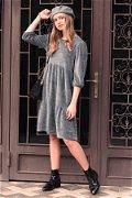 Desenli Fırfırlı Elbise GRI